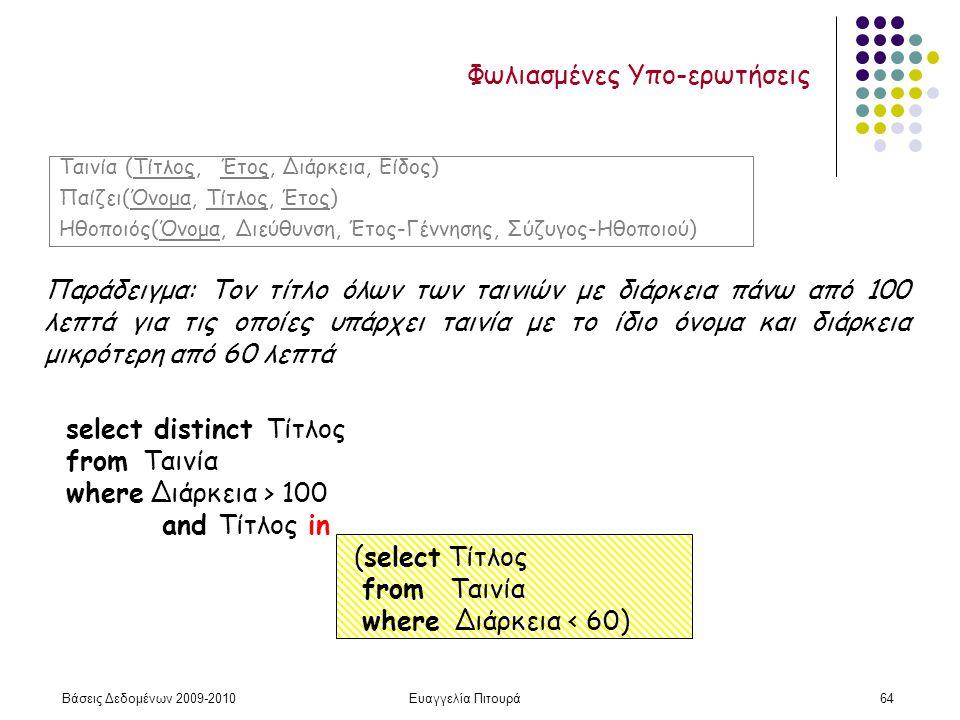 Βάσεις Δεδομένων 2009-2010Ευαγγελία Πιτουρά64 Φωλιασμένες Υπο-ερωτήσεις Παράδειγμα: Τον τίτλο όλων των ταινιών με διάρκεια πάνω από 100 λεπτά για τις