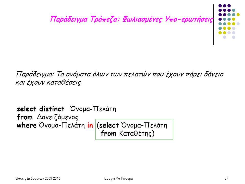 Βάσεις Δεδομένων 2009-2010Ευαγγελία Πιτουρά67 Παράδειγμα Τράπεζα: Φωλιασμένες Υπο-ερωτήσεις Παράδειγμα: Τα ονόματα όλων των πελατών που έχουν πάρει δά