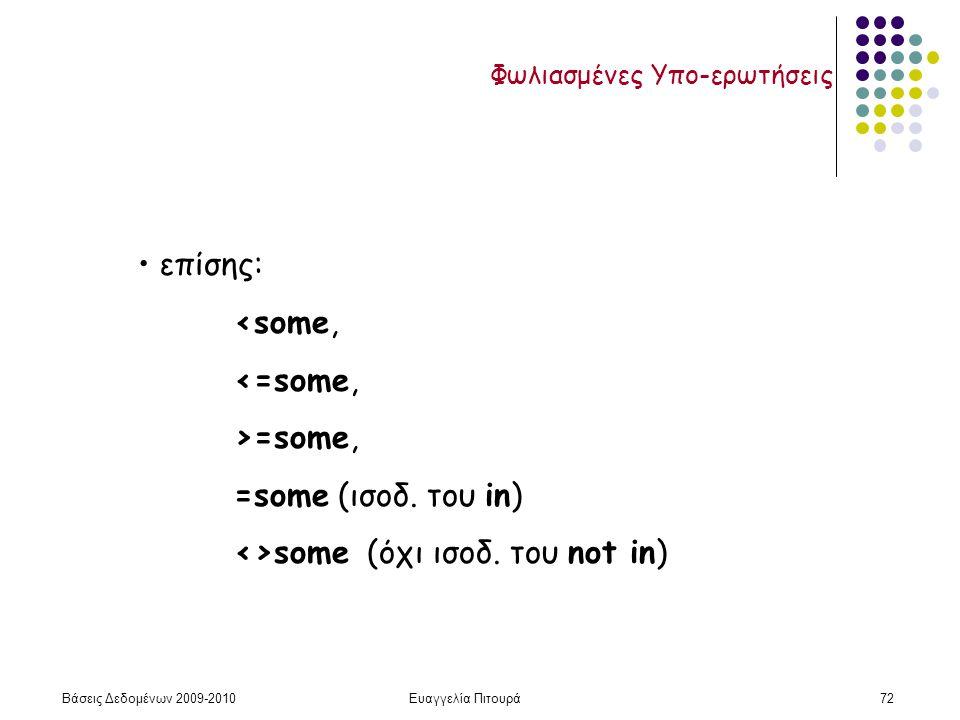 Βάσεις Δεδομένων 2009-2010Ευαγγελία Πιτουρά72 Φωλιασμένες Υπο-ερωτήσεις επίσης: <some, <=some, >=some, =some (ισοδ. του in) <>some (όχι ισοδ. του not