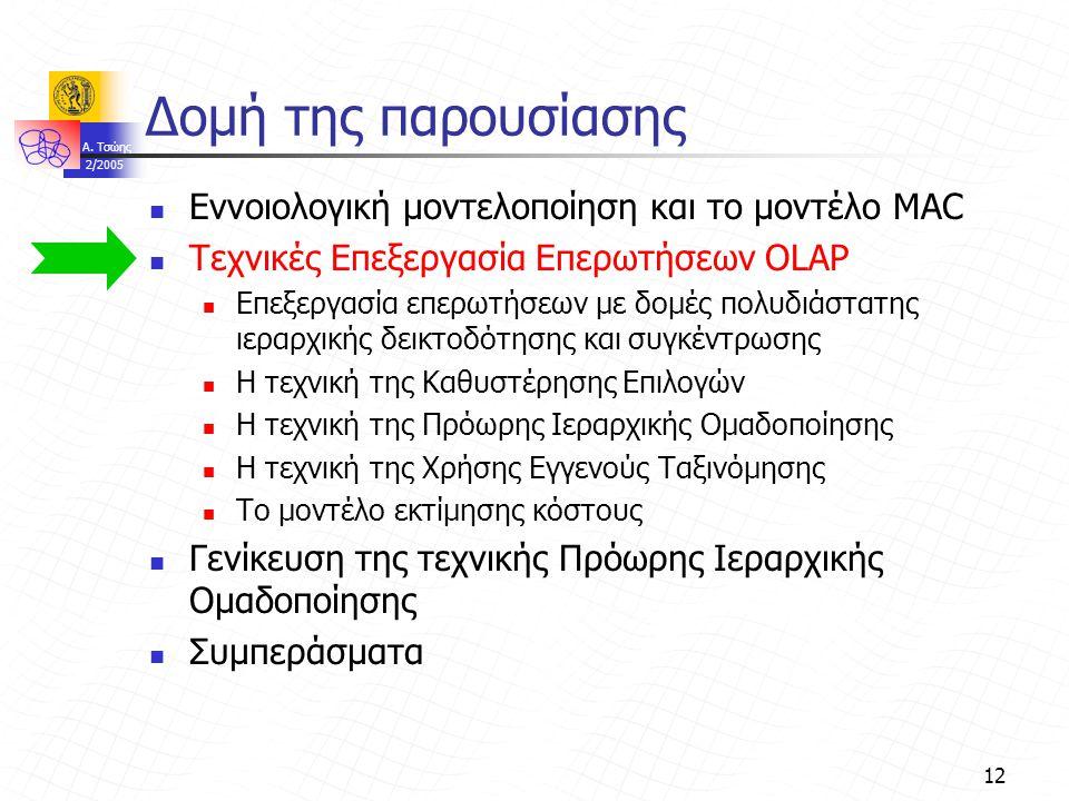 A. Τσώης 2/2005 12 Δομή της παρουσίασης Εννοιολογική μοντελοποίηση και το μοντέλο MAC Τεχνικές Επεξεργασία Επερωτήσεων OLAP Επεξεργασία επερωτήσεων με