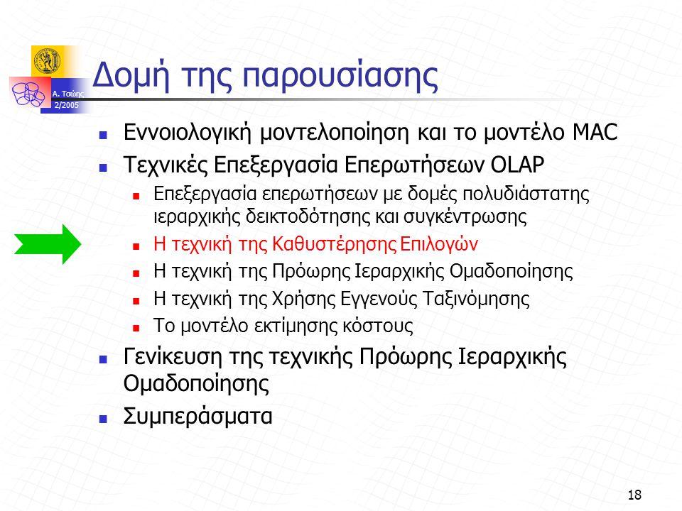 A. Τσώης 2/2005 18 Δομή της παρουσίασης Εννοιολογική μοντελοποίηση και το μοντέλο MAC Τεχνικές Επεξεργασία Επερωτήσεων OLAP Επεξεργασία επερωτήσεων με