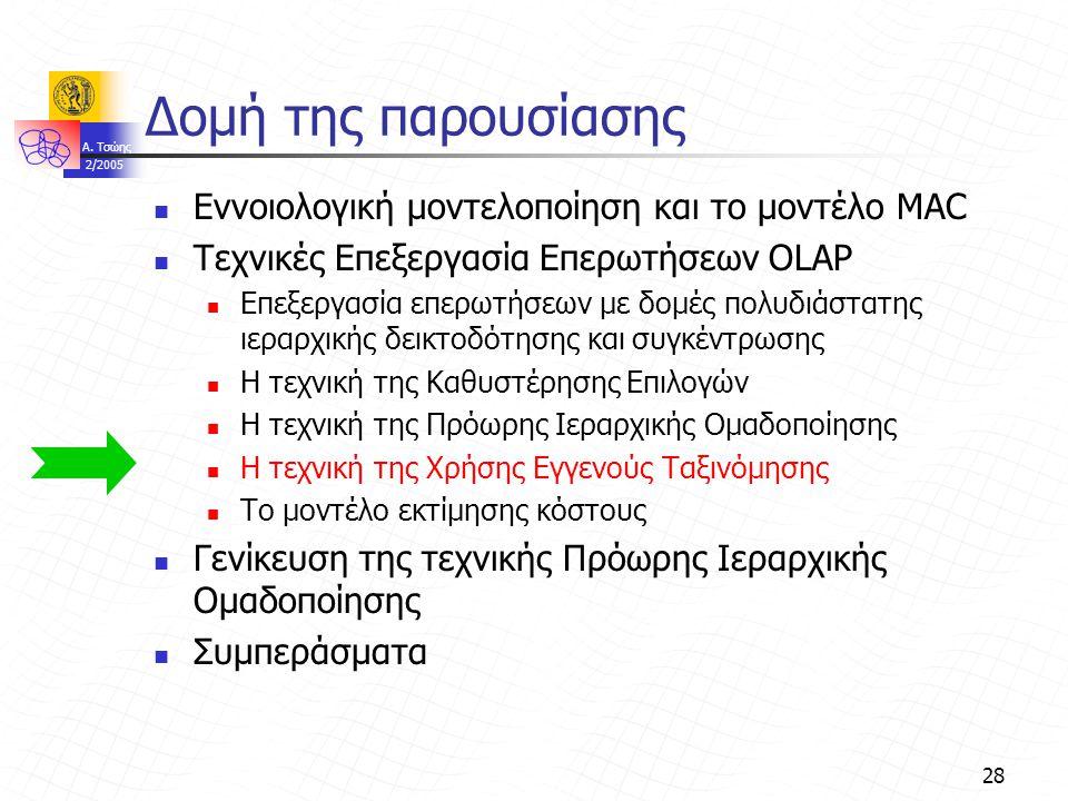A. Τσώης 2/2005 28 Δομή της παρουσίασης Εννοιολογική μοντελοποίηση και το μοντέλο MAC Τεχνικές Επεξεργασία Επερωτήσεων OLAP Επεξεργασία επερωτήσεων με