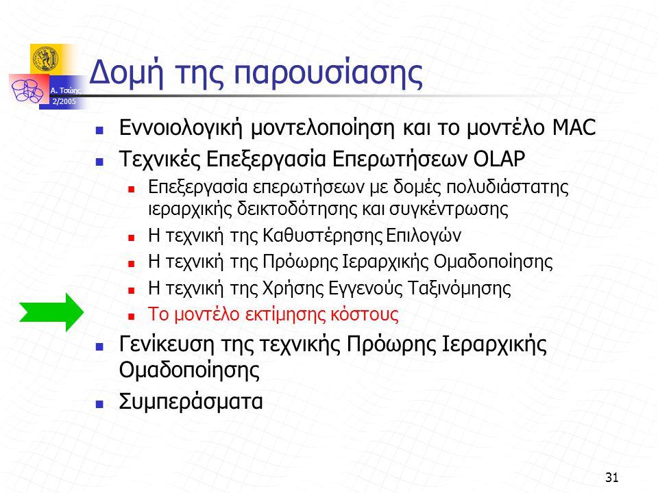 A. Τσώης 2/2005 31 Δομή της παρουσίασης Εννοιολογική μοντελοποίηση και το μοντέλο MAC Τεχνικές Επεξεργασία Επερωτήσεων OLAP Επεξεργασία επερωτήσεων με