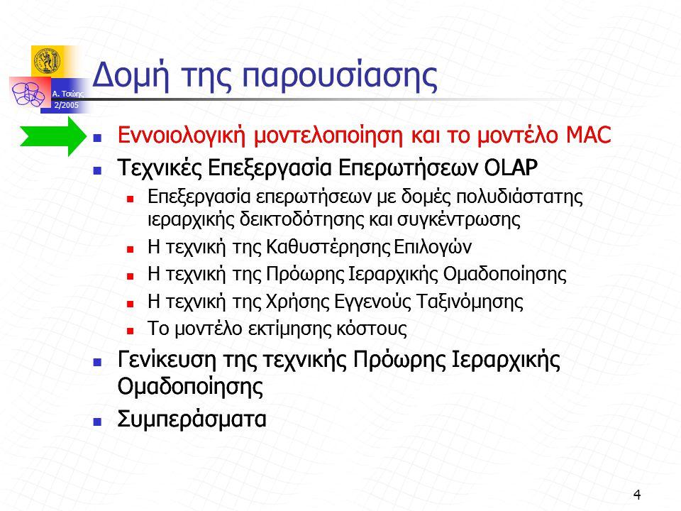 A. Τσώης 2/2005 4 Δομή της παρουσίασης Εννοιολογική μοντελοποίηση και το μοντέλο MAC Τεχνικές Επεξεργασία Επερωτήσεων OLAP Επεξεργασία επερωτήσεων με