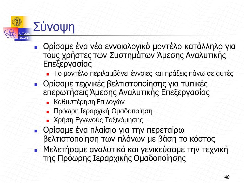 A. Τσώης 2/2005 40 Σύνοψη Ορίσαμε ένα νέο εννοιολογικό μοντέλο κατάλληλο για τους χρήστες των Συστημάτων Άμεσης Αναλυτικής Επεξεργασίας Το μοντέλο περ