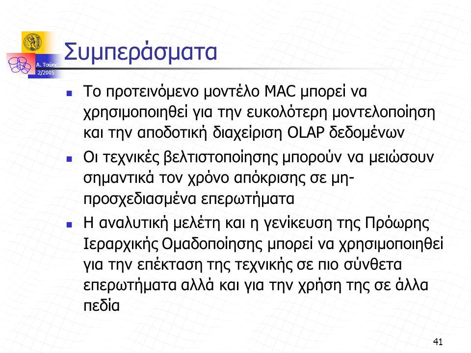 A. Τσώης 2/2005 41 Συμπεράσματα Το προτεινόμενο μοντέλο MAC μπορεί να χρησιμοποιηθεί για την ευκολότερη μοντελοποίηση και την αποδοτική διαχείριση OLA