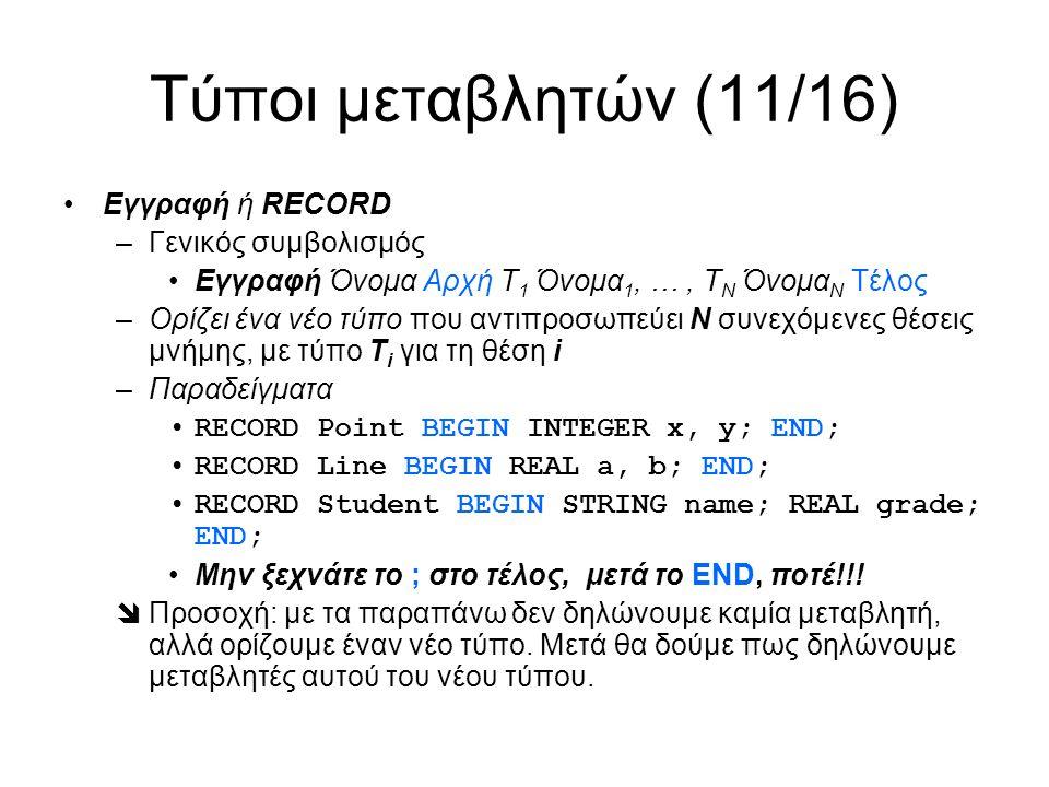 Τύποι μεταβλητών (11/16) Εγγραφή ή RECORD –Γενικός συμβολισμός Εγγραφή Όνομα Αρχή Τ 1 Όνομα 1, …, Τ Ν Όνομα Ν Τέλος –Ορίζει ένα νέο τύπο που αντιπροσωπεύει Ν συνεχόμενες θέσεις μνήμης, με τύπο Τ i για τη θέση i –Παραδείγματα RECORD Point BEGIN INTEGER x, y; END; RECORD Line BEGIN REAL a, b; END; RECORD Student BEGIN STRING name; REAL grade; END; Μην ξεχνάτε το ; στο τέλος, μετά το END, ποτέ!!.