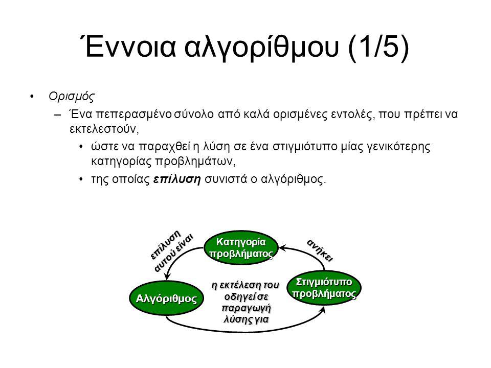 Έννοια αλγορίθμου (1/5) Ορισμός –Ένα πεπερασμένο σύνολο από καλά ορισμένες εντολές, που πρέπει να εκτελεστούν, ώστε να παραχθεί η λύση σε ένα στιγμιότυπο μίας γενικότερης κατηγορίας προβλημάτων, της οποίας επίλυση συνιστά ο αλγόριθμος.