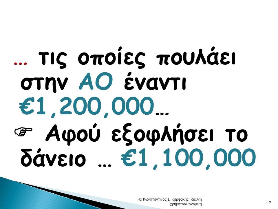 … τις οποίες πουλάει στην ΑΟ έναντι €1,200,000…  Αφού εξοφλήσει το δάνειο … €1,100,000 © Κωνσταντίνος Ι.