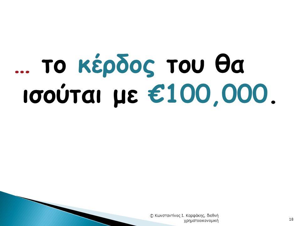 … το κέρδος του θα ισούται με €100,000. © Κωνσταντίνος Ι. Καρφάκης, διεθνή χρηματοοικονομική 18