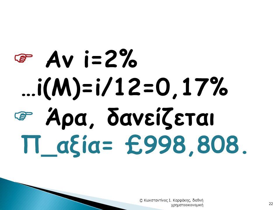  Αν i=2% …i(M)=i/12=0,17%  Άρα, δανείζεται Π_αξία= £998,808.