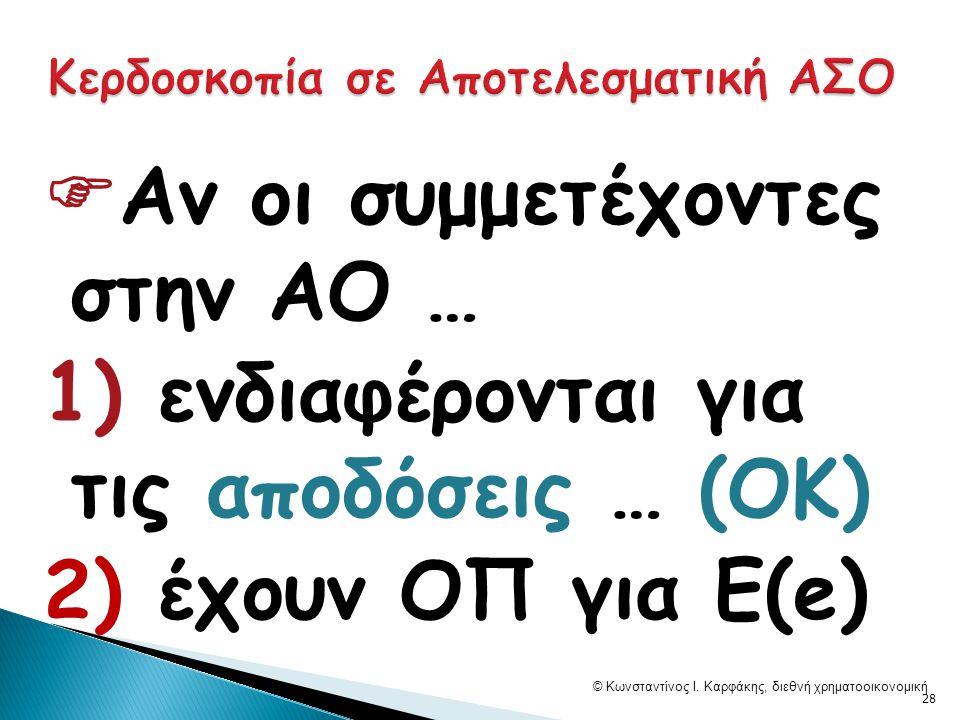  Αν οι συμμετέχοντες στην ΑΟ … 1) ενδιαφέρονται για τις αποδόσεις … (ΟΚ) 2) έχουν ΟΠ για E(e) © Κωνσταντίνος Ι.