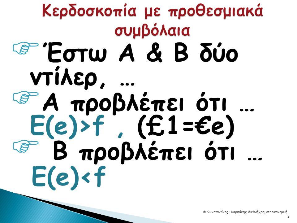  Έστω Α & Β δύο ντίλερ, …  Α προβλέπει ότι … Ε(e)>f, (£1=€e)  B προβλέπει ότι … Ε(e)<f © Κωνσταντίνος Ι.