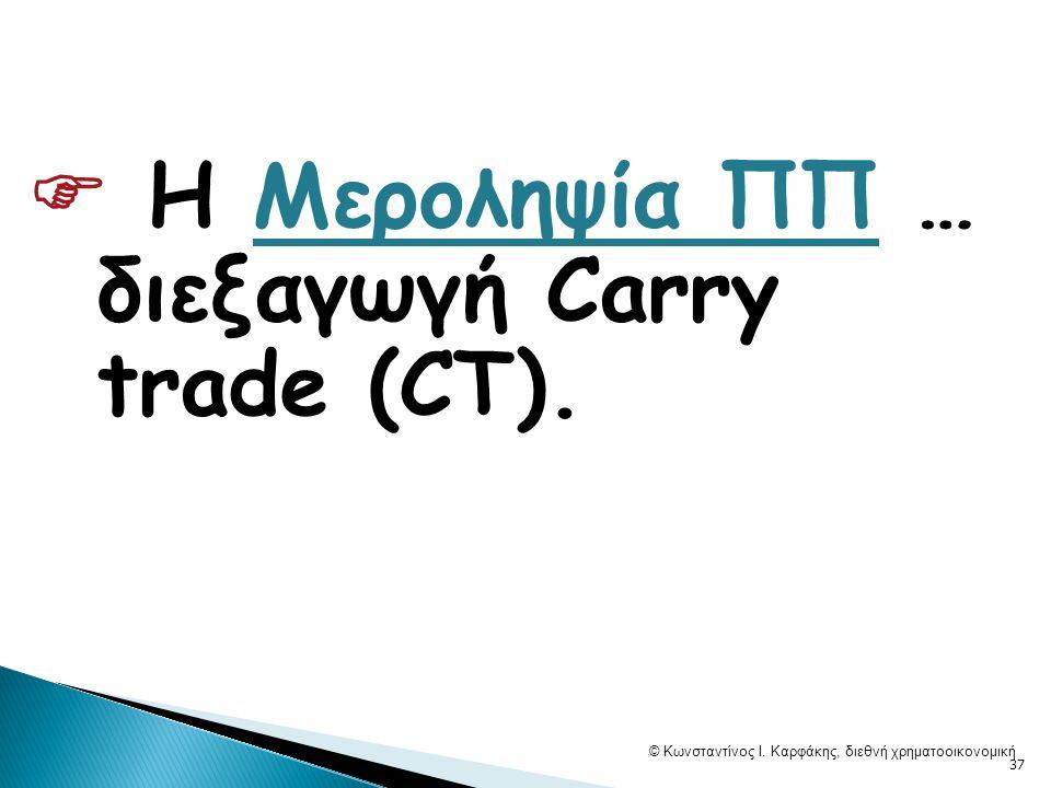  Η Μεροληψία ΠΠ … διεξαγωγή Carry trade (CT). © Κωνσταντίνος Ι.