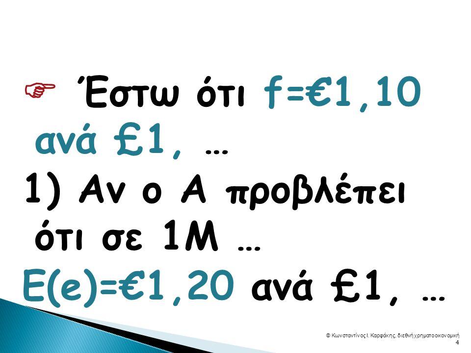  Έστω ότι f=€1,10 ανά £1, … 1) Αν ο Α προβλέπει ότι σε 1Μ … E(e)=€1,20 ανά £1, … © Κωνσταντίνος Ι.