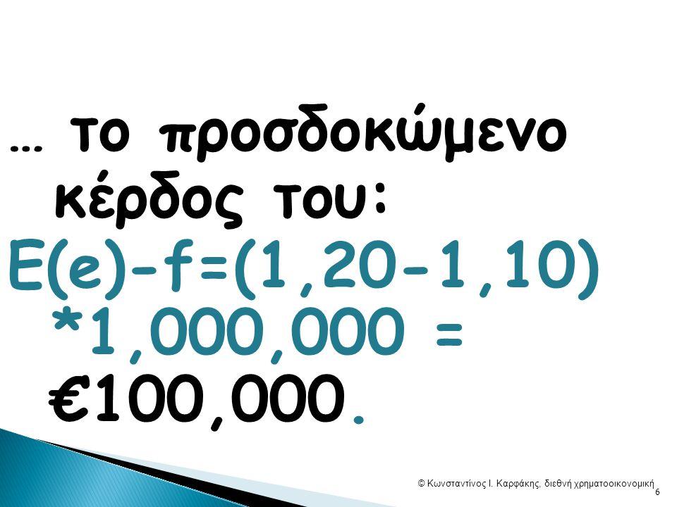 2) Αν ο Β προβλέπει ότι σε 1Μ … E(e)=€1,05 ανά £1, … © Κωνσταντίνος Ι.