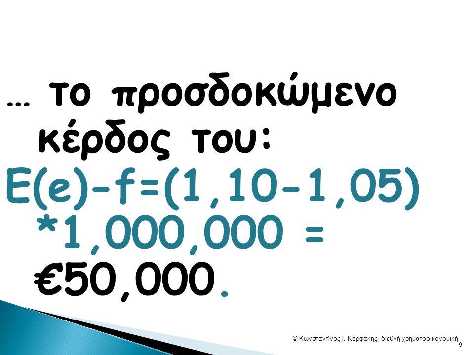 3) Πουλάμε €e(1+i) στην ΑΟ στην τιμή Ε(e) ανά £1, … £e(1+i)/E(e).