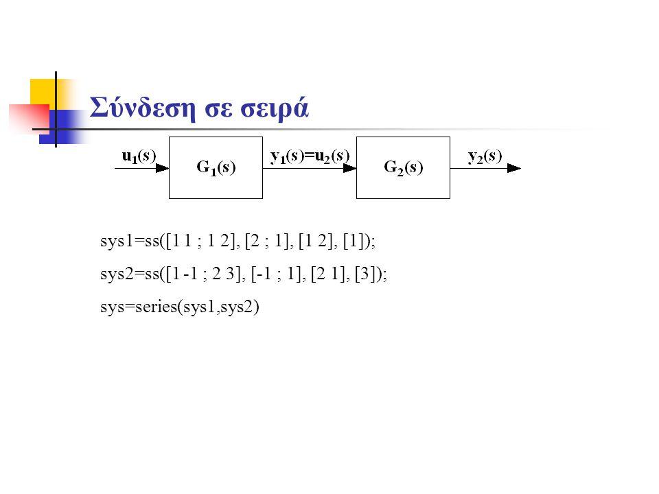 Σύνδεση σε σειρά sys1=ss([1 1 ; 1 2], [2 ; 1], [1 2 ; 2 1], [1 ;2]); sys2=ss([1 -1 ; 2 3], [-1 ; 1], [2 1], [3]); sys=series(sys1,sys2,[1],[1]) SYS = SERIES(SYS1,SYS2,OUTPUTS1,INPUTS2) sys1=[tf([1],[1 2 1]) ; tf([1].