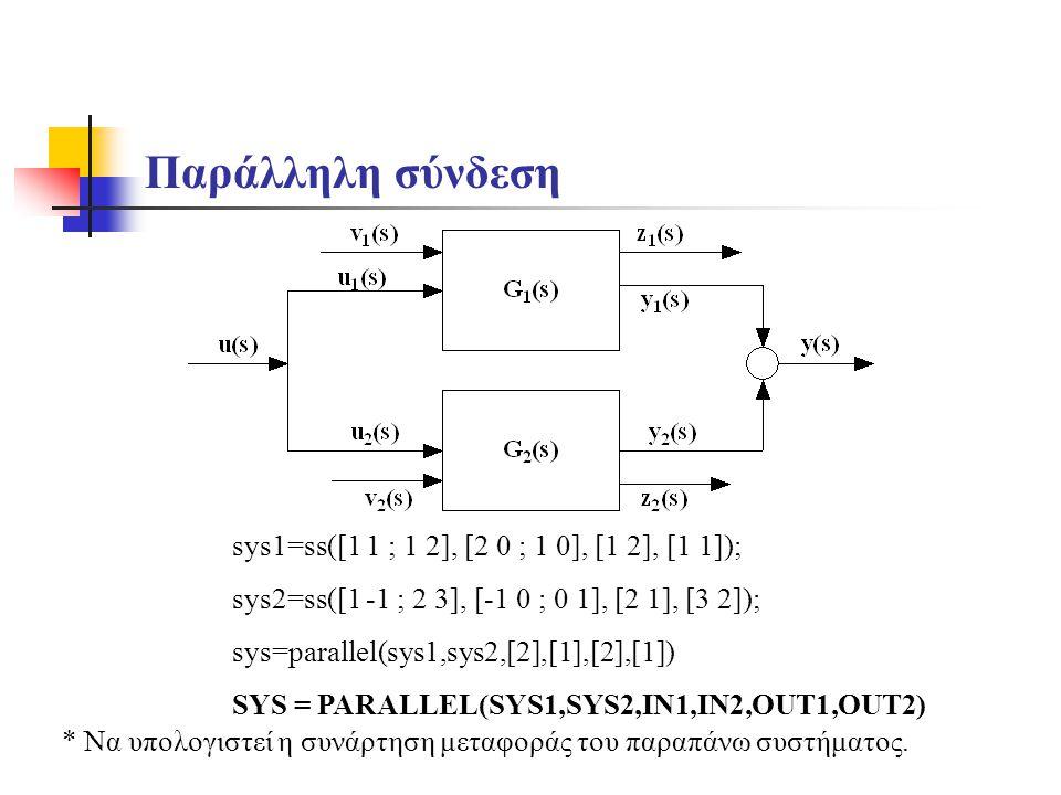 Παράλληλη σύνδεση sys1=ss([1 1 ; 1 2], [2 0 ; 1 0], [1 2], [1 1]); sys2=ss([1 -1 ; 2 3], [-1 0 ; 0 1], [2 1], [3 2]); sys=parallel(sys1,sys2,[2],[1],[2],[1]) SYS = PARALLEL(SYS1,SYS2,IN1,IN2,OUT1,OUT2) * Να υπολογιστεί η συνάρτηση μεταφοράς του παραπάνω συστήματος.