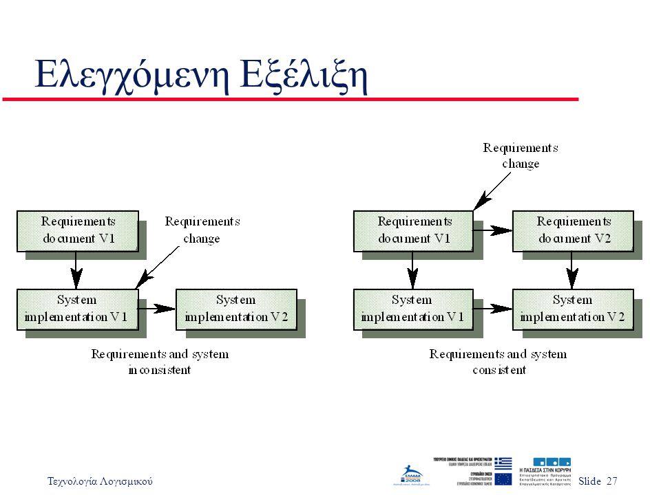 Τεχνολογία ΛογισμικούSlide 27 Ελεγχόμενη Εξέλιξη