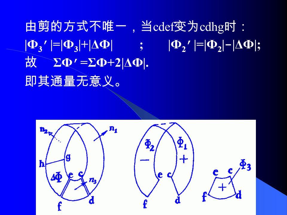 4. 粘合法与投影法比较 (Mobius 面 ) 将 A 剪成两部分,显然二者皆为双侧曲面。 按法向量定义的通量计算方法: 如图 ΣФ=|Ф 1 |-|Ф 2 |+|Ф 3 |.