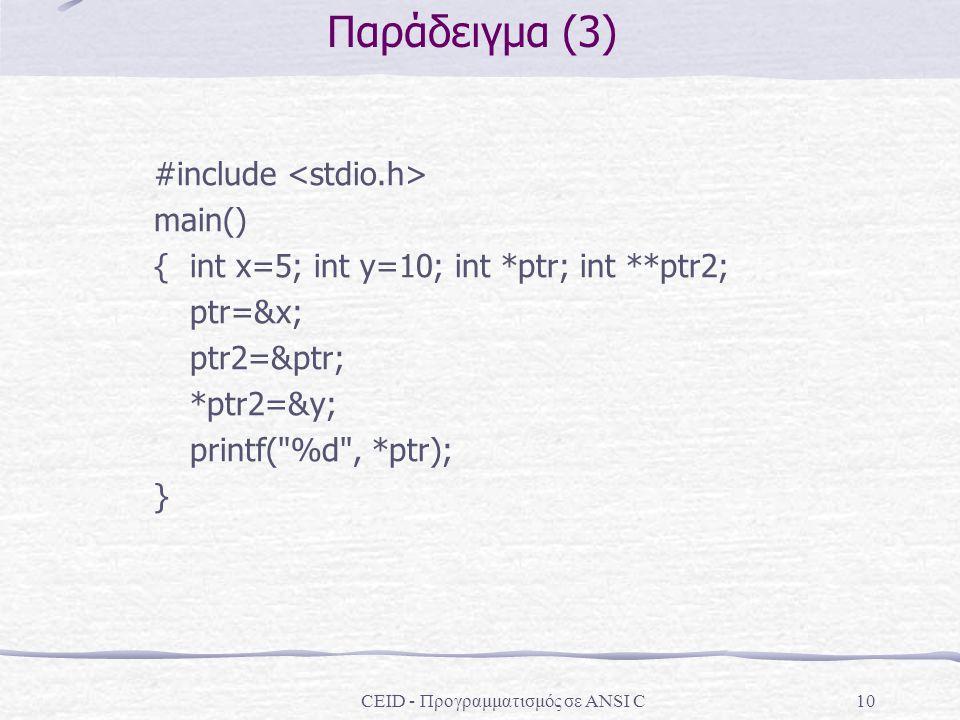 CEID - Προγραμματισμός σε ANSI C10 Παράδειγμα (3) #include main() { int x=5; int y=10; int *ptr; int **ptr2; ptr=&x; ptr2=&ptr; *ptr2=&y; printf(