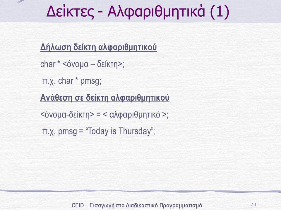 """24 Δείκτες - Αλφαριθμητικά (1) Δήλωση δείκτη αλφαριθμητικού char * ; π.χ. char * pmsg; Ανάθεση σε δείκτη αλφαριθμητικού = ; π.χ. pmsg = """"Today is Thur"""