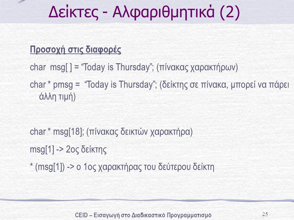"""25 Δείκτες - Αλφαριθμητικά (2) Προσοχή στις διαφορές char msg[ ] = """"Today is Thursday""""; (πίνακας χαρακτήρων) char * pmsg = """"Today is Thursday""""; (δείκτ"""