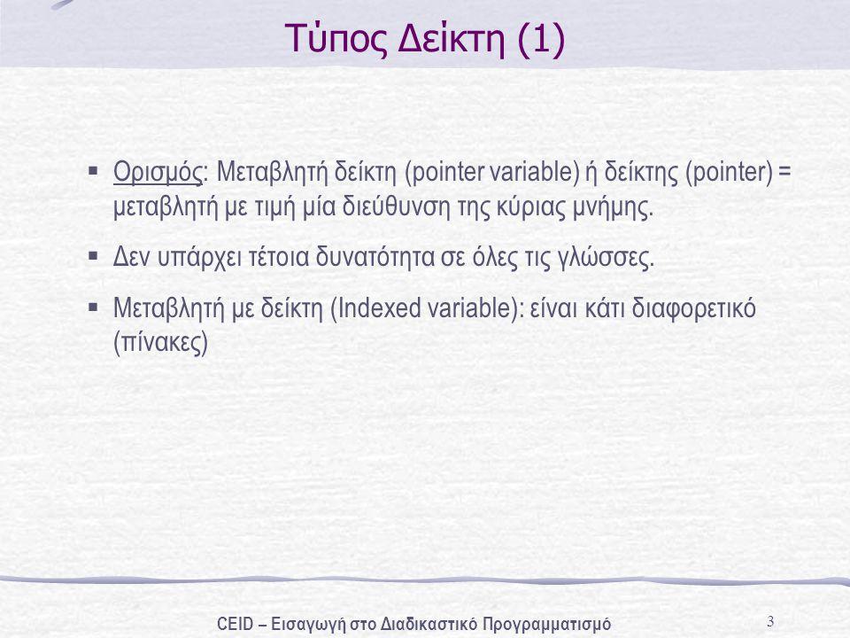 4 Τύπος Δείκτη (2) Δήλωση * ; π.χ.int * num_ptr; Αρχικοποίηση * =>διεύθυνση>; π.χ.