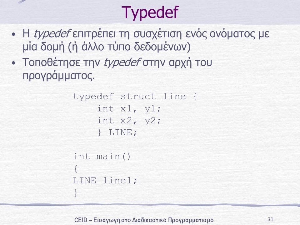 31 Typedef H typedef επιτρέπει τη συσχέτιση ενός ονόματος με μία δομή (ή άλλο τύπο δεδομένων) Τοποθέτησε την typedef στην αρχή του προγράμματος. typed