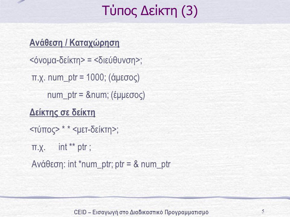 5 Τύπος Δείκτη (3) Ανάθεση / Καταχώρηση = ; π.χ. num_ptr = 1000; (άμεσος) num_ptr = # (έμμεσος) Δείκτης σε δείκτη * * ; π.χ. int ** ptr ; Ανάθεση: