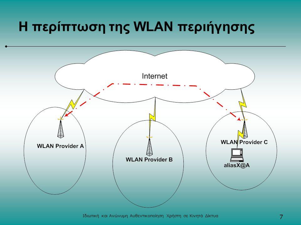 Ιδιωτική και Ανώνυμη Αυθεντικοποίηση Χρήστη σε Κινητά Δίκτυα 7 Η περίπτωση της WLAN περιήγησης