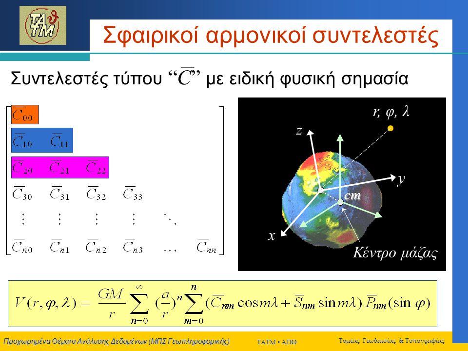Προχωρημένα Θέματα Ανάλυσης Δεδομένων (ΜΠΣ Γεωπληροφορικής) ΤΑΤΜ  ΑΠΘ Τομέας Γεωδαισίας & Τοπογραφίας Σφαιρικοί αρμονικοί συντελεστές Συντελεστές τύπου C με ειδική φυσική σημασία r, φ, λ Κέντρο μάζας x y z cm