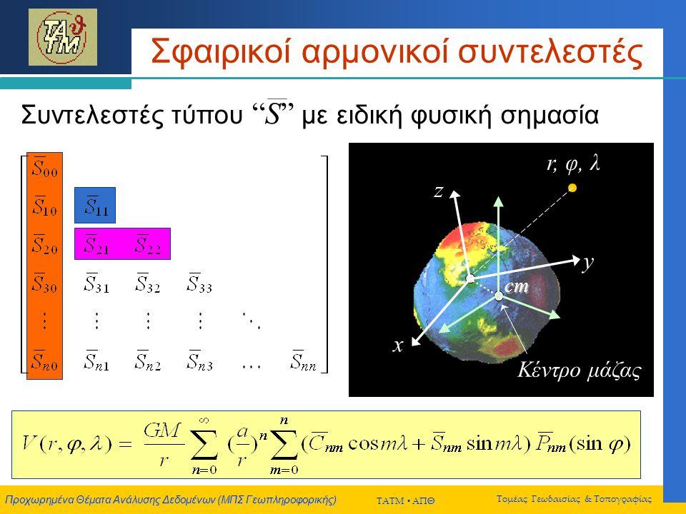 Προχωρημένα Θέματα Ανάλυσης Δεδομένων (ΜΠΣ Γεωπληροφορικής) ΤΑΤΜ  ΑΠΘ Τομέας Γεωδαισίας & Τοπογραφίας Σφαιρικοί αρμονικοί συντελεστές Συντελεστές τύπου S με ειδική φυσική σημασία x y z cm r, φ, λ Κέντρο μάζας x y z cm