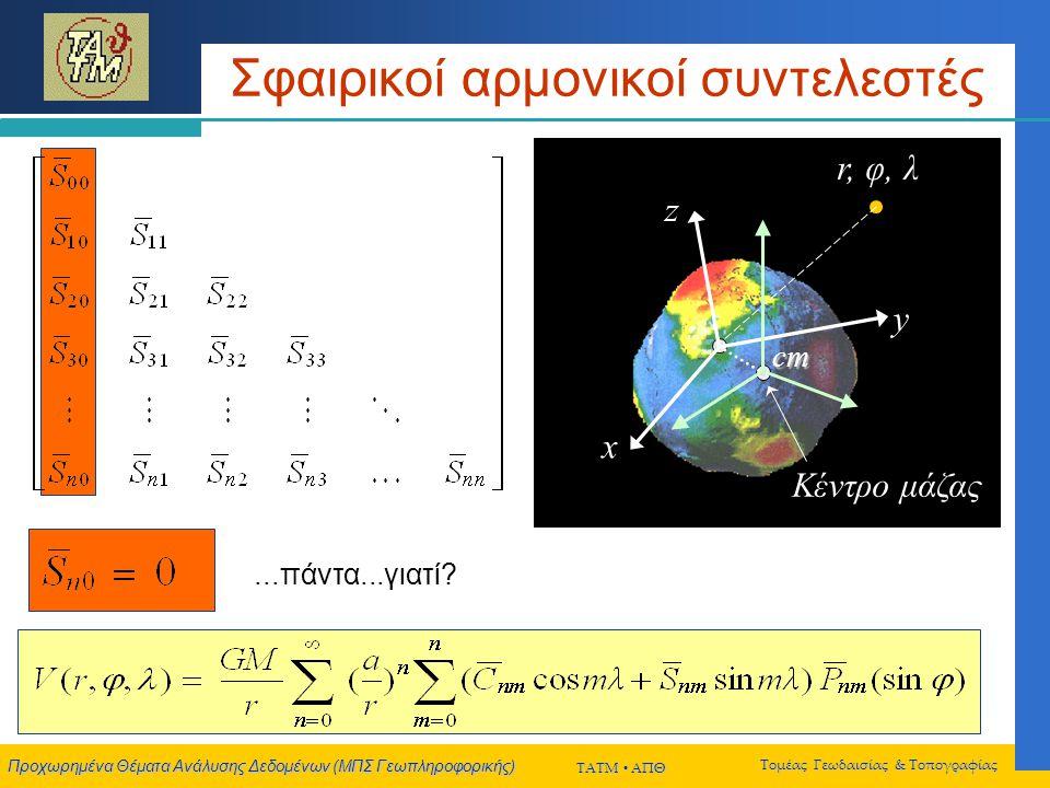 Προχωρημένα Θέματα Ανάλυσης Δεδομένων (ΜΠΣ Γεωπληροφορικής) ΤΑΤΜ  ΑΠΘ Τομέας Γεωδαισίας & Τοπογραφίας Σφαιρικοί αρμονικοί συντελεστές x y z cm r, φ, λ Κέντρο μάζας x y z cm...πάντα...γιατί