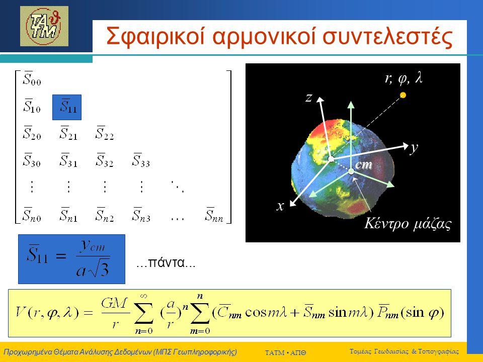 Προχωρημένα Θέματα Ανάλυσης Δεδομένων (ΜΠΣ Γεωπληροφορικής) ΤΑΤΜ  ΑΠΘ Τομέας Γεωδαισίας & Τοπογραφίας Σφαιρικοί αρμονικοί συντελεστές x y z cm r, φ, λ Κέντρο μάζας x y z cm...πάντα...
