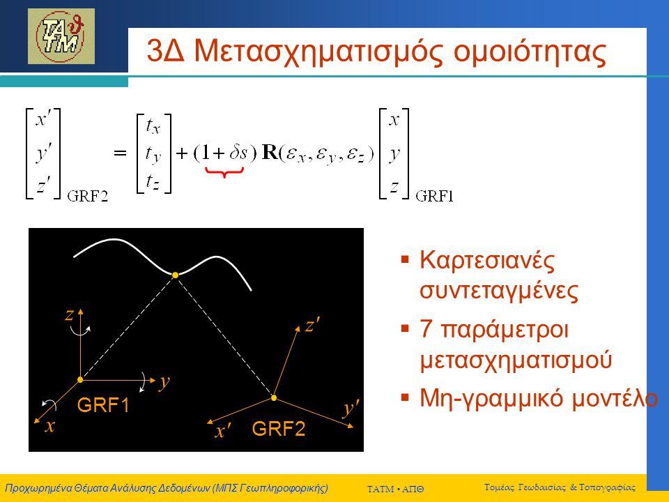 Προχωρημένα Θέματα Ανάλυσης Δεδομένων (ΜΠΣ Γεωπληροφορικής) ΤΑΤΜ  ΑΠΘ Τομέας Γεωδαισίας & Τοπογραφίας 3Δ Μετασχηματισμός ομοιότητας  Καρτεσιανές συντεταγμένες  7 παράμετροι μετασχηματισμού  Μη-γραμμικό μοντέλο GRF2 x x y y z z GRF1 x y z