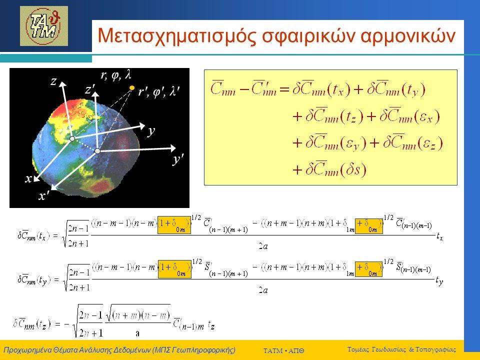 Προχωρημένα Θέματα Ανάλυσης Δεδομένων (ΜΠΣ Γεωπληροφορικής) ΤΑΤΜ  ΑΠΘ Τομέας Γεωδαισίας & Τοπογραφίας Μετασχηματισμός σφαιρικών αρμονικών r, φ, λ x y z r , φ , λ x x y y z z