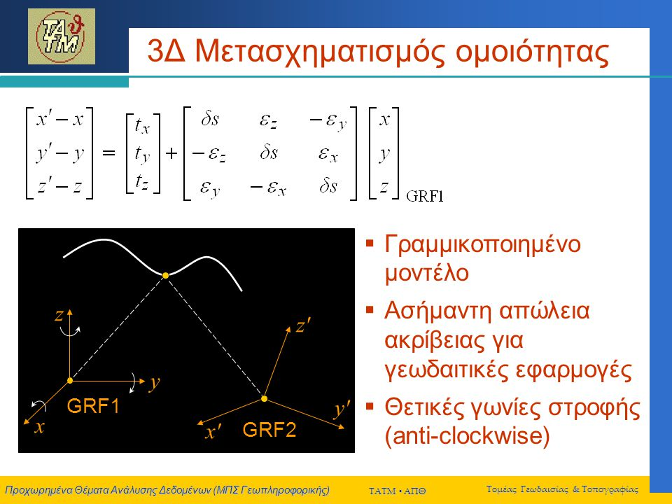 Προχωρημένα Θέματα Ανάλυσης Δεδομένων (ΜΠΣ Γεωπληροφορικής) ΤΑΤΜ  ΑΠΘ Τομέας Γεωδαισίας & Τοπογραφίας 3Δ Μετασχηματισμός ομοιότητας GRF2 x x y y z z GRF1 x y z  Γραμμικοποιημένο μοντέλο  Ασήμαντη απώλεια ακρίβειας για γεωδαιτικές εφαρμογές  Θετικές γωνίες στροφής (anti-clockwise)