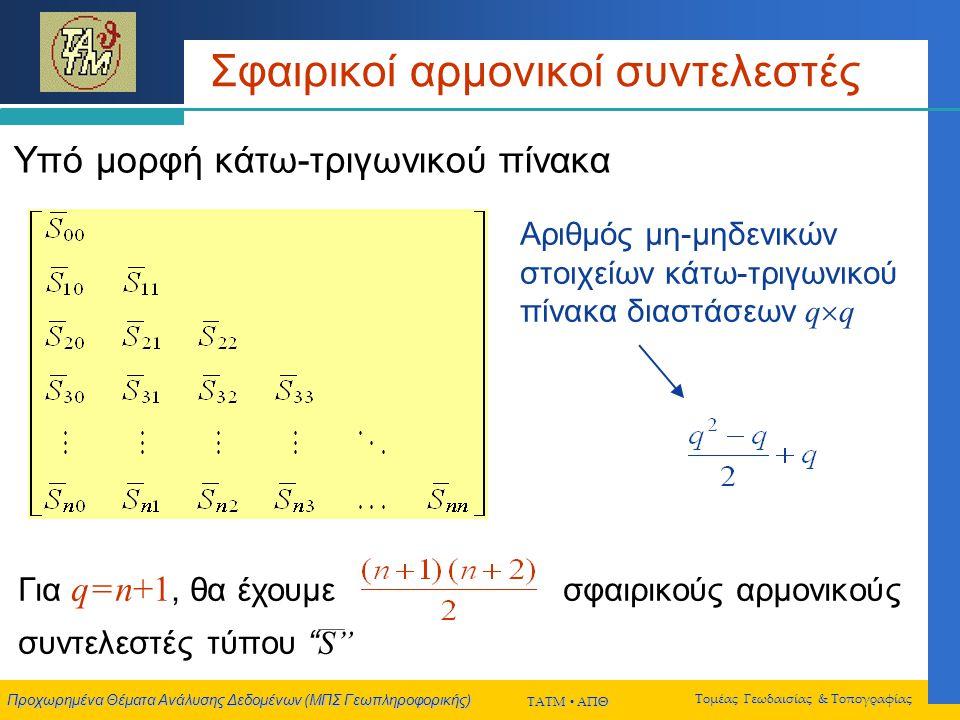 Προχωρημένα Θέματα Ανάλυσης Δεδομένων (ΜΠΣ Γεωπληροφορικής) ΤΑΤΜ  ΑΠΘ Τομέας Γεωδαισίας & Τοπογραφίας Μετασχηματισμός σφαιρικών αρμονικών y cm r, φ, λ x y z r , φ , λ x x y y z z {C nm }, {S nm } {C nm }, {S nm } δs, t x, t y, t z, ε x, ε y, ε z