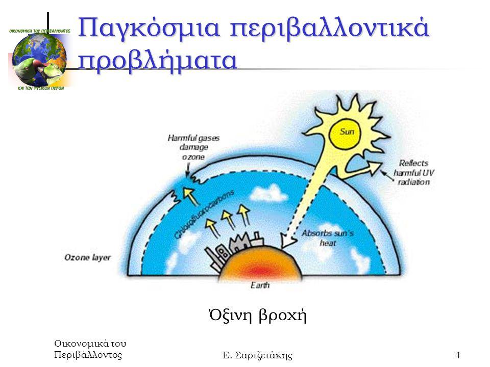 Οικονομικά του ΠεριβάλλοντοςΕ. Σαρτζετάκης4 Παγκόσμια περιβαλλοντικά προβλήματα Όξινη βροχή