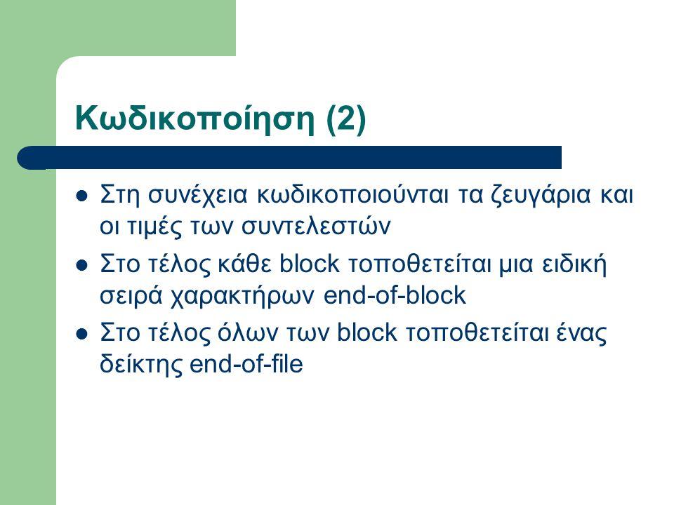 Κωδικοποίηση (2) Στη συνέχεια κωδικοποιούνται τα ζευγάρια και οι τιμές των συντελεστών Στο τέλος κάθε block τοποθετείται μια ειδική σειρά χαρακτήρων end-of-block Στο τέλος όλων των block τοποθετείται ένας δείκτης end-of-file