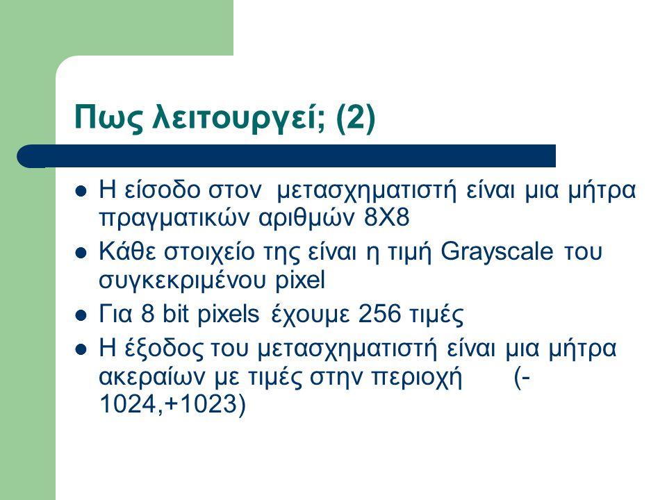Πως λειτουργεί; (2) Η είσοδο στον μετασχηματιστή είναι μια μήτρα πραγματικών αριθμών 8Χ8 Κάθε στοιχείο της είναι η τιμή Grayscale του συγκεκριμένου pi