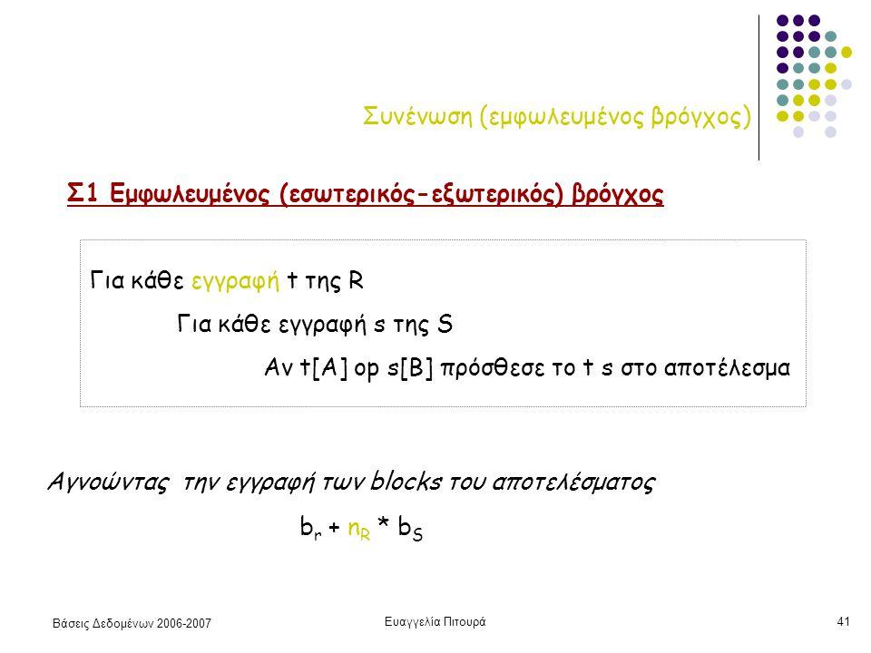 Βάσεις Δεδομένων 2006-2007 Ευαγγελία Πιτουρά41 Συνένωση (εμφωλευμένος βρόγχος) Σ1 Εμφωλευμένος (εσωτερικός-εξωτερικός) βρόγχος Για κάθε εγγραφή t της R Για κάθε εγγραφή s της S Αν t[A] op s[B] πρόσθεσε το t s στο αποτέλεσμα b r + n R * b S Αγνοώντας την εγγραφή των blocks του αποτελέσματος