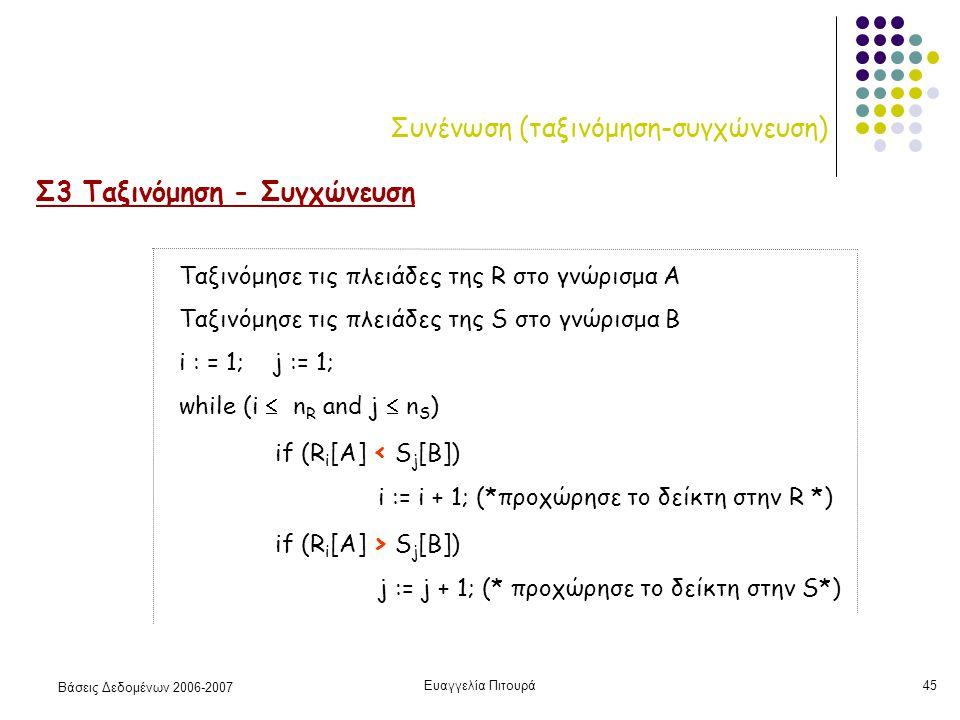 Βάσεις Δεδομένων 2006-2007 Ευαγγελία Πιτουρά45 Συνένωση (ταξινόμηση-συγχώνευση) Σ3 Ταξινόμηση - Συγχώνευση Ταξινόμησε τις πλειάδες της R στο γνώρισμα Α Ταξινόμησε τις πλειάδες της S στο γνώρισμα Β i : = 1; j := 1; while (i  n R and j  n S ) if (R i [A] < S j [B]) i := i + 1; (*προχώρησε το δείκτη στην R *) if (R i [A] > S j [B]) j := j + 1; (* προχώρησε το δείκτη στην S*)