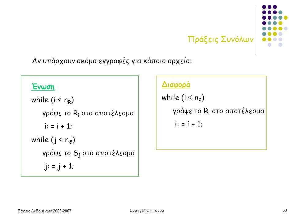 Βάσεις Δεδομένων 2006-2007 Ευαγγελία Πιτουρά53 Πράξεις Συνόλων Ένωση while (i  n R ) γράψε το R i στο αποτέλεσμα i: = i + 1; while (j  n S ) γράψε το S j στο αποτέλεσμα j: = j + 1; Διαφορά while (i  n R ) γράψε το R i στο αποτέλεσμα i: = i + 1; Αν υπάρχουν ακόμα εγγραφές για κάποιο αρχείο: