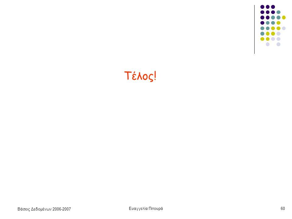 Βάσεις Δεδομένων 2006-2007 Ευαγγελία Πιτουρά60 Τέλος!