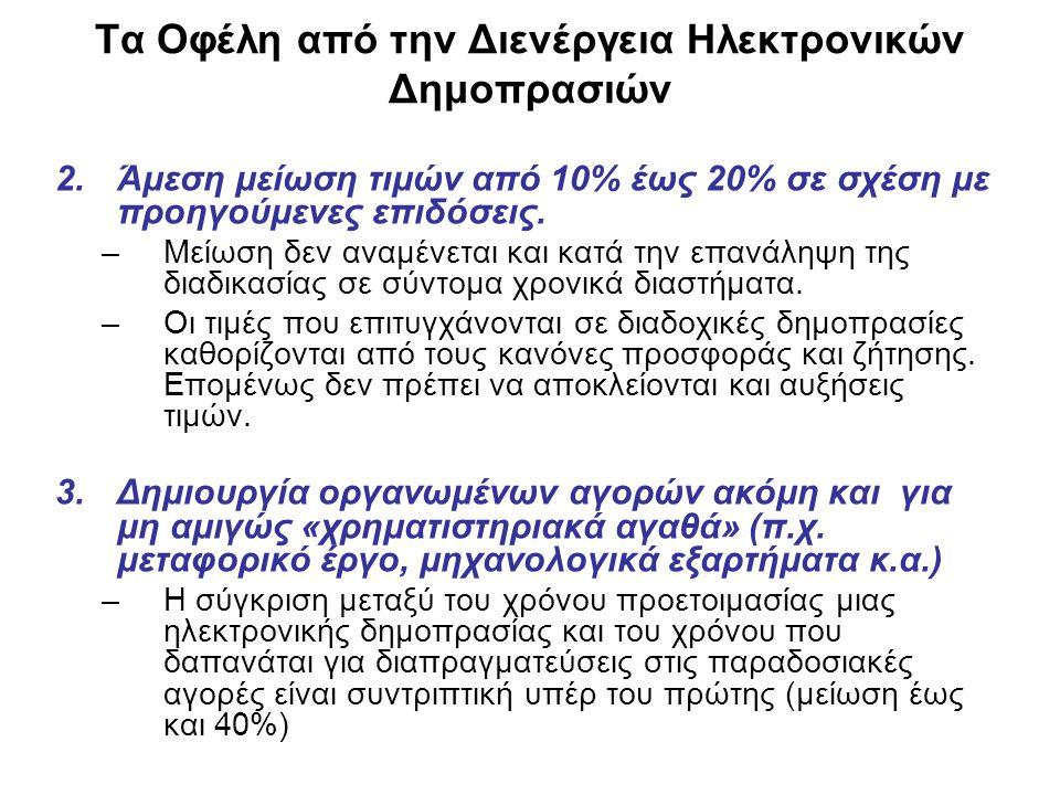 Τα Οφέλη από την Διενέργεια Ηλεκτρονικών Δημοπρασιών 2.Άμεση μείωση τιμών από 10% έως 20% σε σχέση με προηγούμενες επιδόσεις.