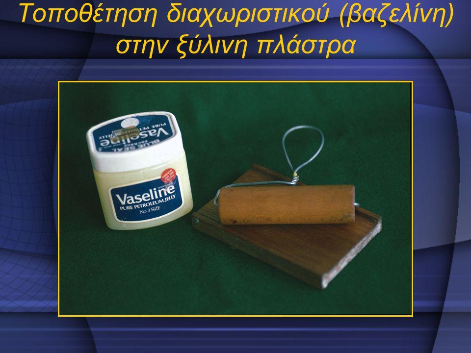 Τοποθέτηση διαχωριστικού (βαζελίνη) στην ξύλινη πλάστρα