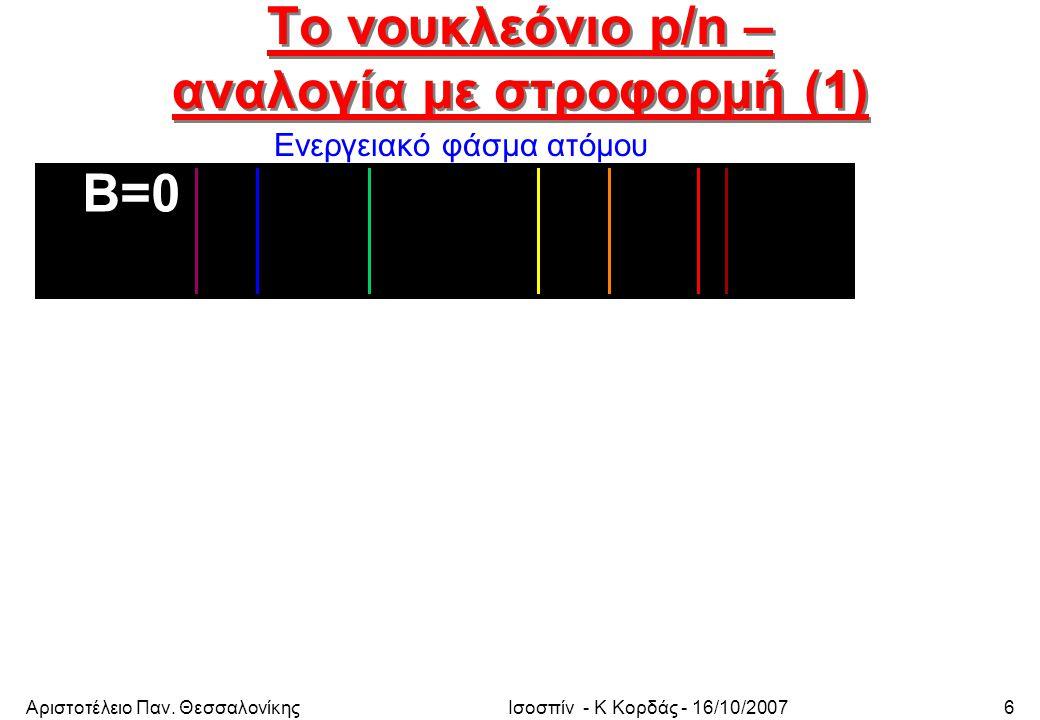 Αριστοτέλειο Παν. ΘεσσαλονίκηςΙσοσπίν - Κ Κορδάς - 16/10/200727 Συντελεστές Glebsch-Gordon (2)
